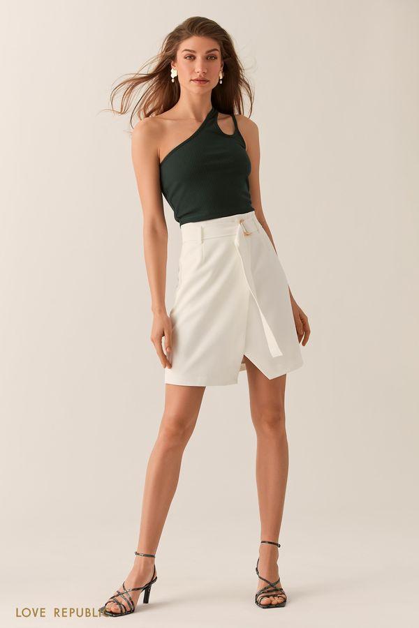 Молочная юбка на запах с асимметричным разрезом 0255244230-60