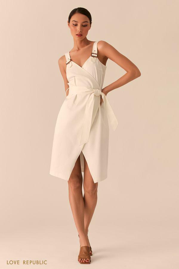 Асимметричное открытое платье на запах молочного цвета 0255249526-60