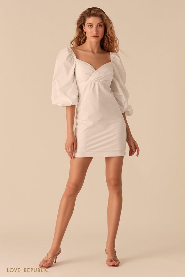 Белое платье с объемными рукавами и вырезом sweetheart 0255254558-1