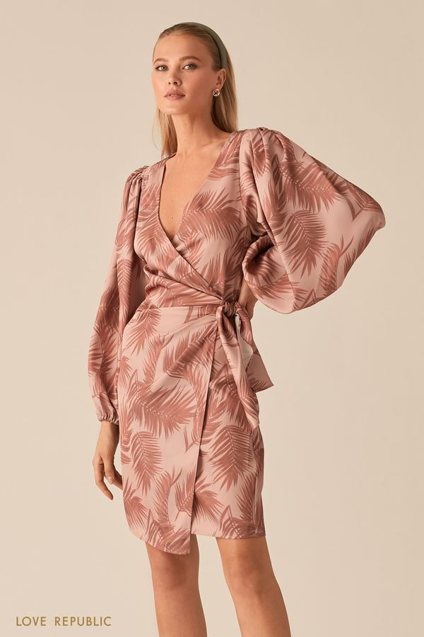 Платье на запах с объемными рукавами и драпировками на талии 0255255553-90