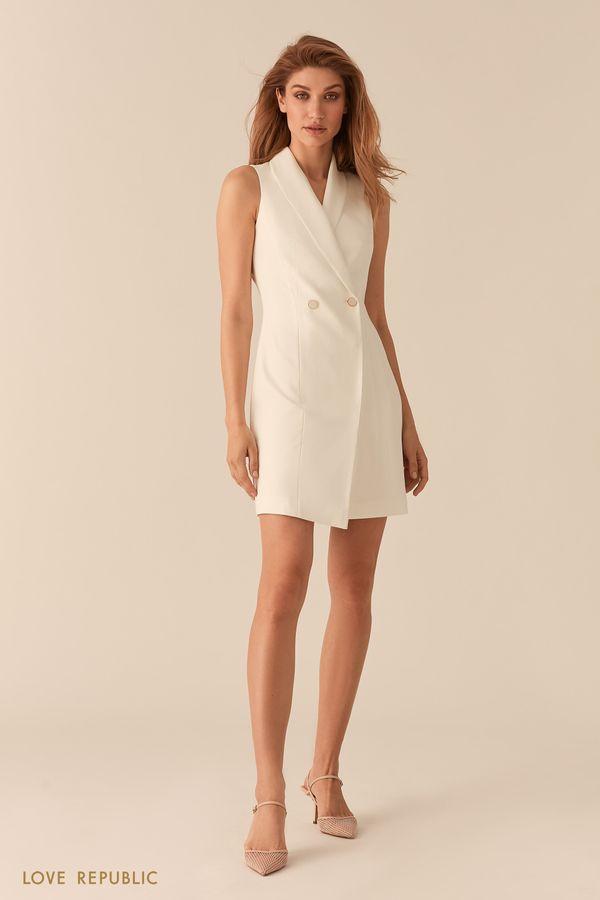 Платье-пиджак асимметричного кроя без рукавов молочного цвета 0255258559-60