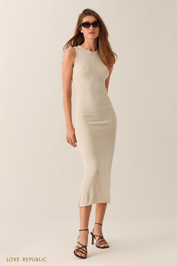 Длинное кремовое платье без рукавов 0255303552-61