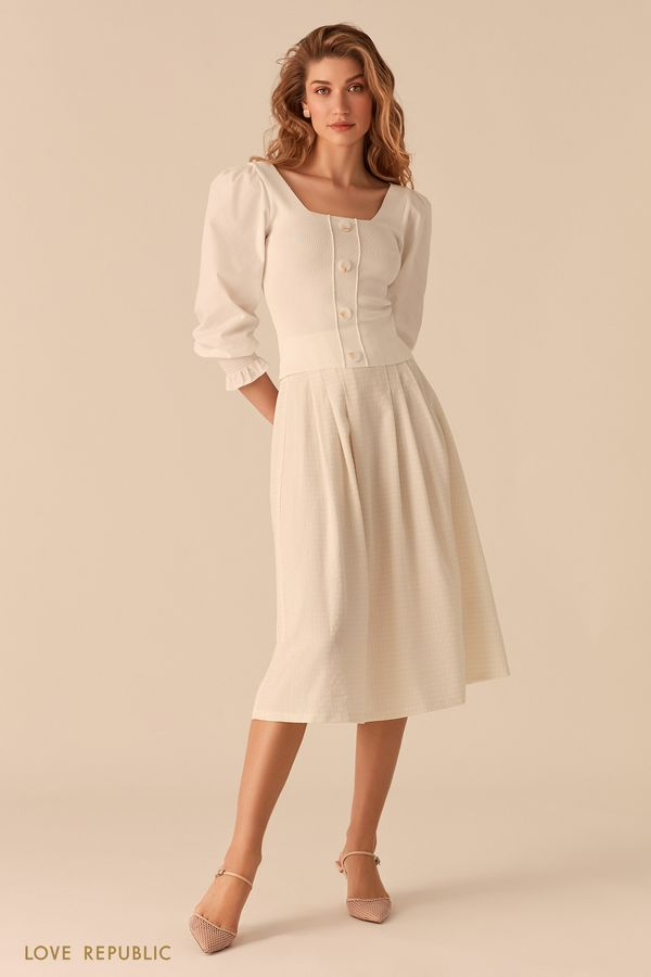 Белая блузка с рукавами-буфами и вырезом каре 02553100808-1