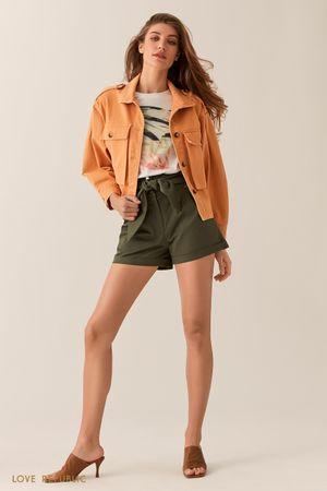 Куртка из оранжевого денима с нагрудными карманами фото