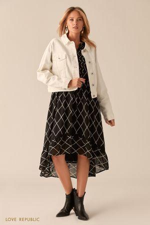 Укороченная oversize куртка из белого денима фото