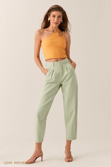 Светло-зеленые джинсы-бананы 0255404713