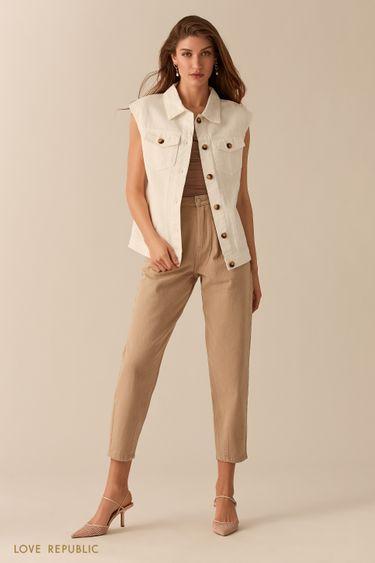Молочный джинсовый жилет oversize 0255405103