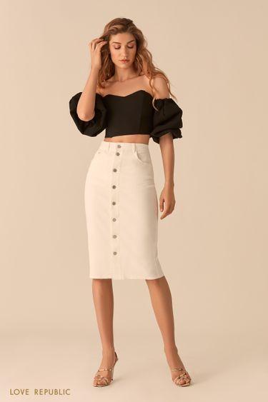 Джинсовая белая юбка миди с рядом пуговиц 0255420210