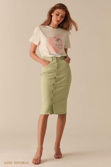 Джинсовая светло-зеленая юбка миди с рядом пуговиц 0255420210