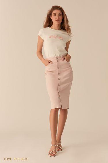 Джинсовая светло-розовая юбка миди с рядом пуговиц 0255420210