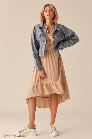 Укороченная джинсовая куртка свободного кроя 0255433105