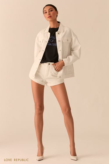 Куртка свободного кроя из белого денима 0255436106