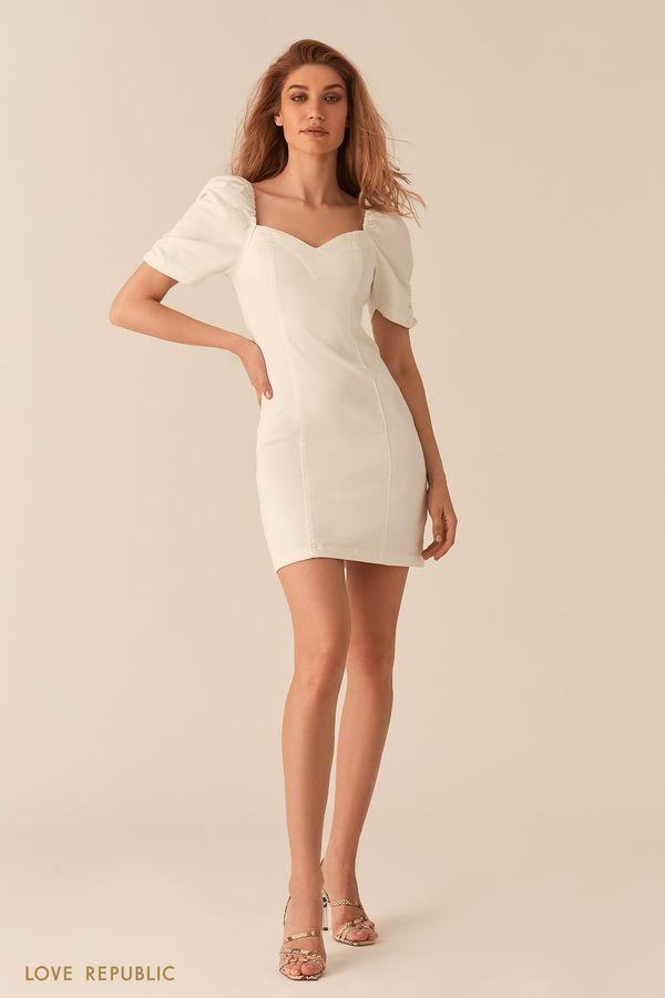 Платье из белого денима с объемными рукавами и фигурным вырезом 0255411521-1