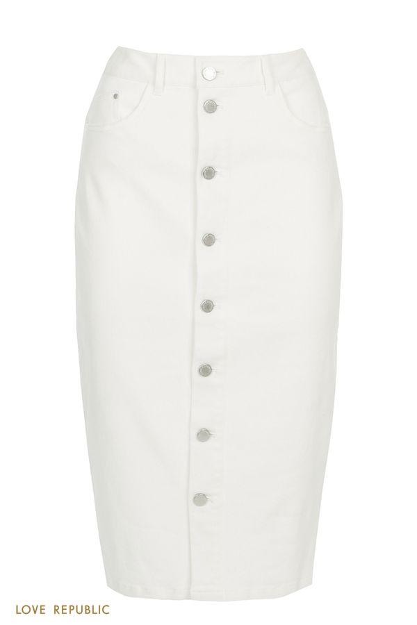 Джинсовая белая юбка миди с рядом пуговиц 0255420210-1