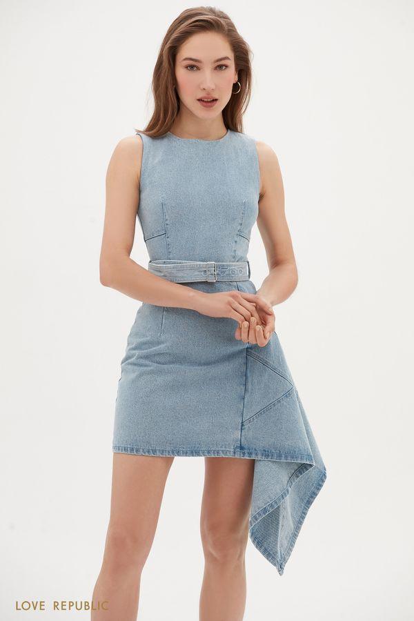 Джинсовое платье мини с асимметричным воланом сбоку 0255424529-103