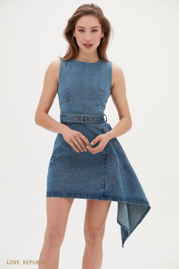 Джинсовое платье мини с ассиметричным воланом сбоку 0255424529-101