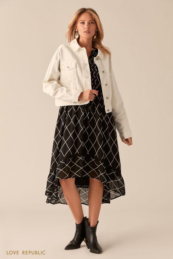 Укороченная oversize куртка из белого денима 0255444105-1