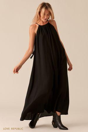 Черное свободное платье макси А-силуэта Love Republic