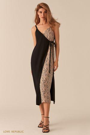 Платье в бельевом стиле кроя на запах