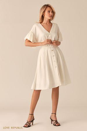 Легкое белое платье из льна и вискозы Love Republic