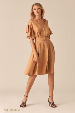 Легкое платье из льна и вискозы песочного цвета фото