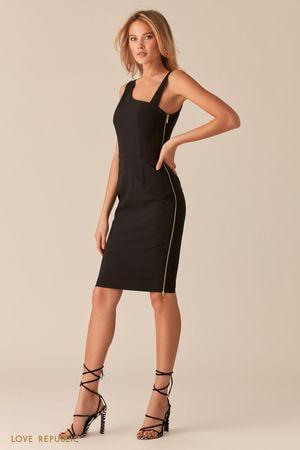Черное платье с асимметричным вырезом фото
