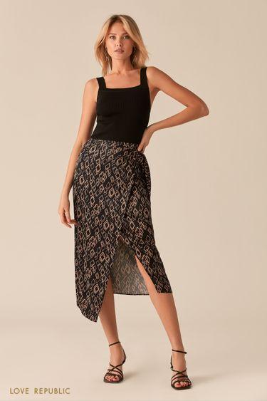 Атласная юбка на запах с принтом 0256038207