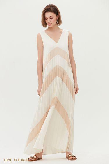 Плиссированное платье-макси 0256041536