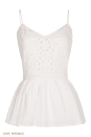 Белая блузка с вышивкой ришелье 0256042318