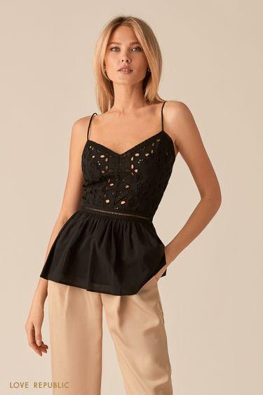 Черная блузка с вышивкой ришелье 0256042318