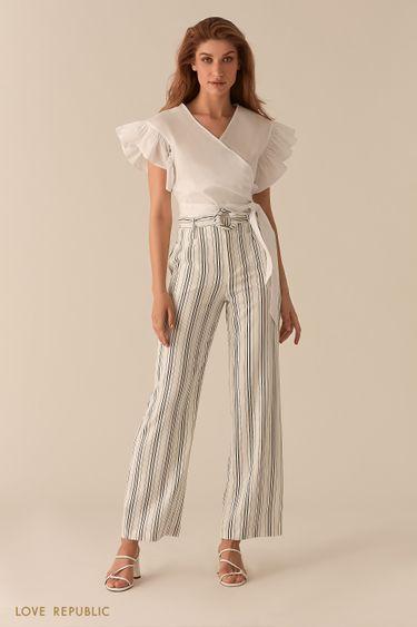 Хлопковая белая блузка с запахом и объемными рукавами-воланами 0256043315