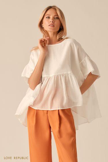 Свободная белая блузка с удлиненной спинкой 0256046319