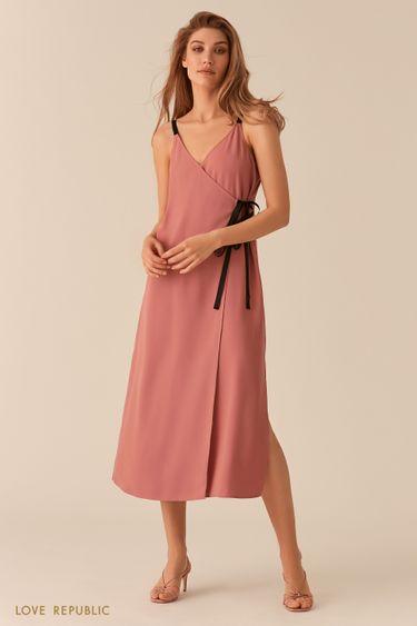 Розовое платье в бельевом стиле кроя на запах 0256048540
