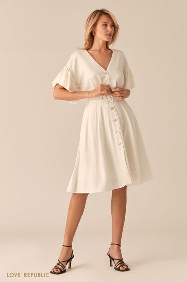 Легкое белое платье из льна и вискозы 0256049551