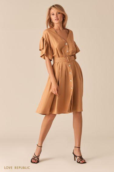 Легкое платье из льна и вискозы песочного цвета 0256049551