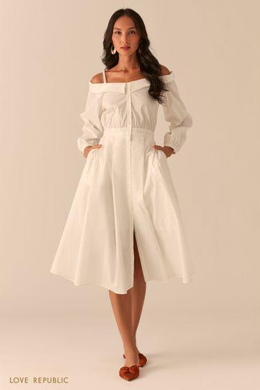 Белое платье-рубашка с открытыми плечами 0256051552