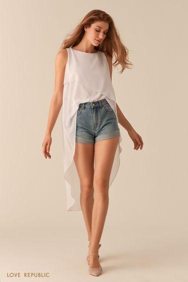 Молочная шифоновая асимметричная блузка со шлейфом 02560550339