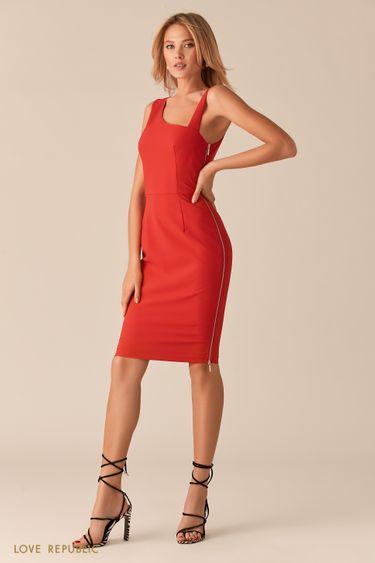 Красное платье с асимметричным вырезом 02560570564