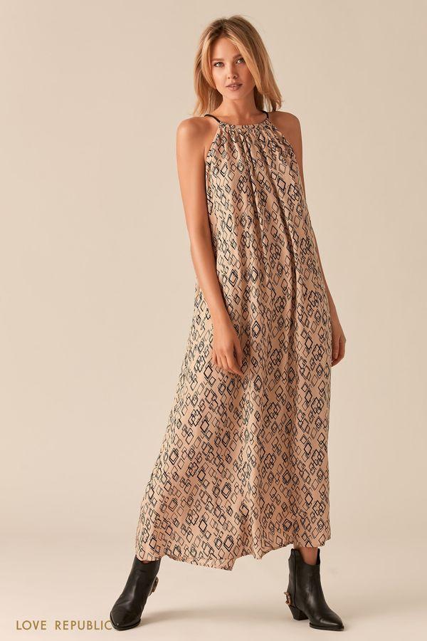 Свободное платье макси А-силуэта с бежевым принтом 0256005506-65