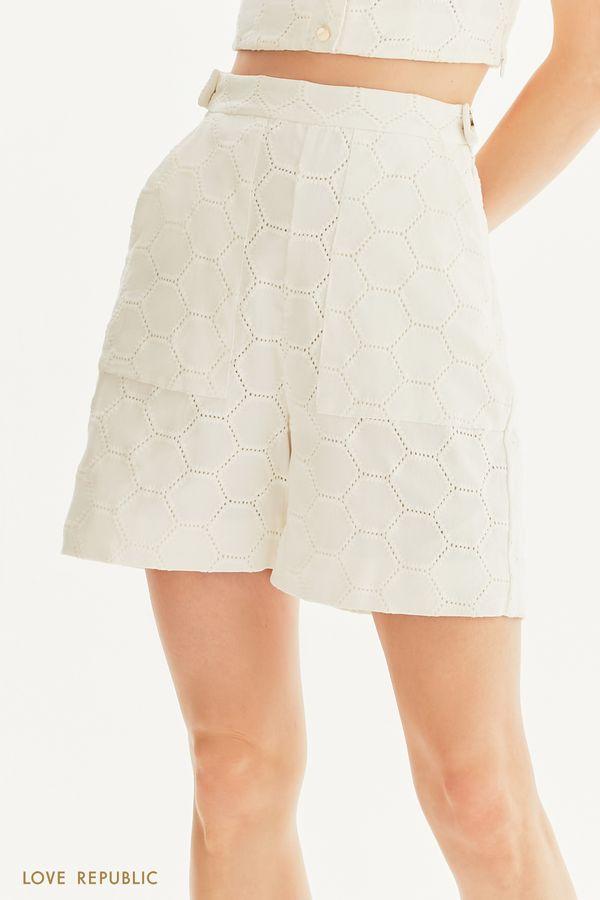 Удлиненные шорты с вышивкой ришелье 0256031731-1