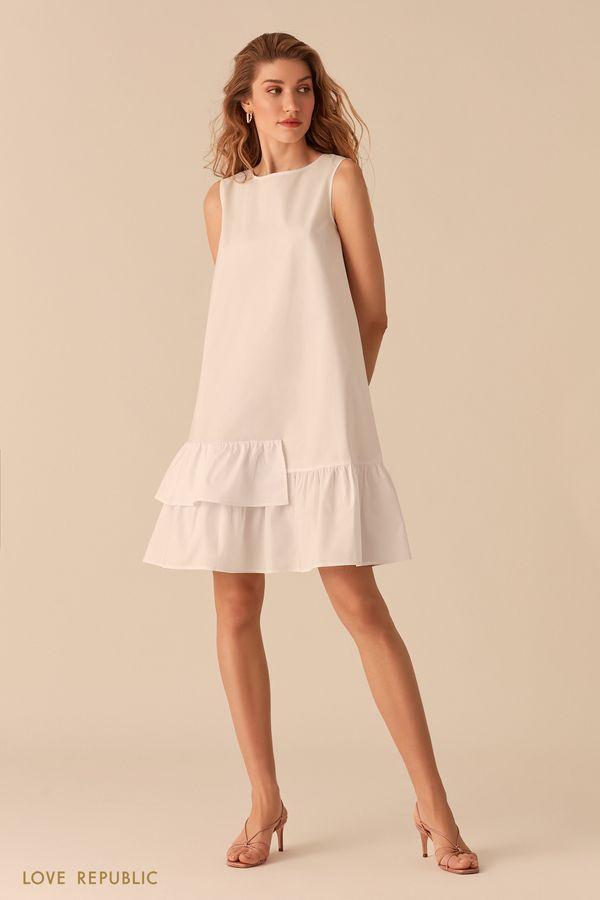 Белое свободное платье-трапеция с воланами 0256035533-1