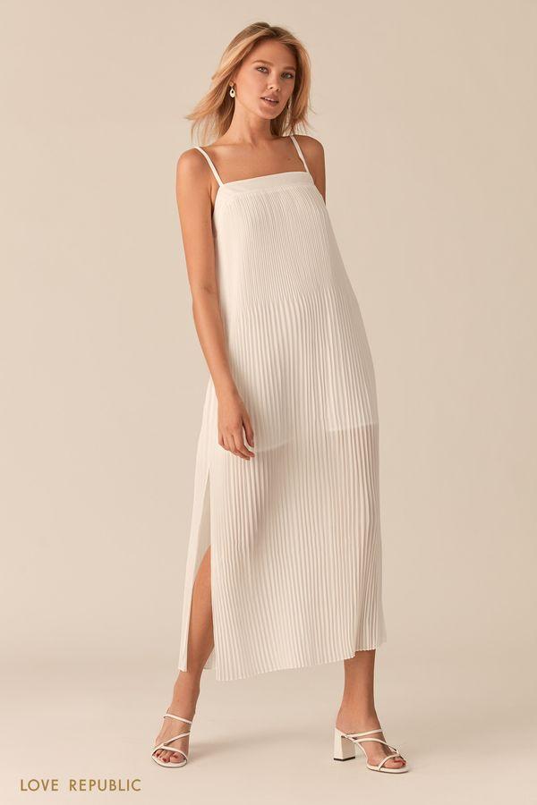 Открытое белое платье миди из плиссированной ткани 0256040535-1