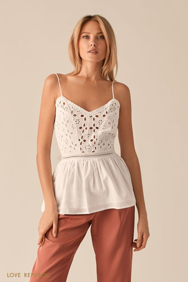 Белая блузка с вышивкой ришелье 0256042318-1
