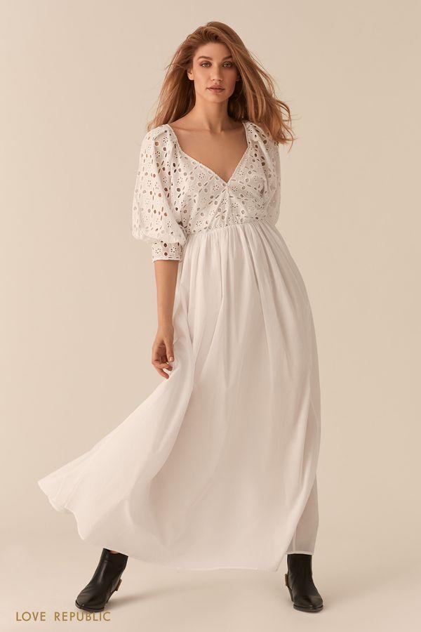 Белое платье макси с объемными рукавами и топом с перфорацией 0256042538-1