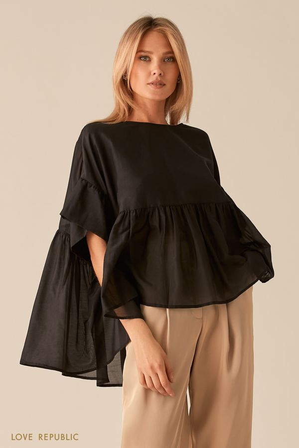 Свободная черная блузка с удлиненной спинкой 0256046319-50