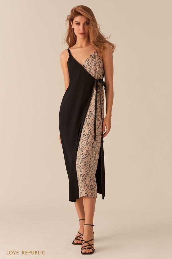 Платье в бельевом стиле кроя на запах 0256048540-54