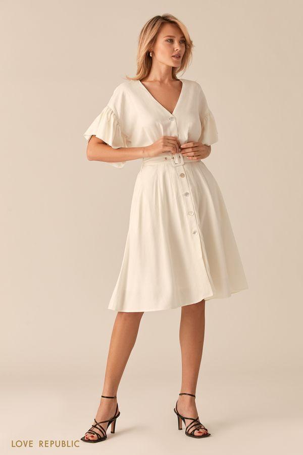 Легкое платье из льна и вискозы песочного цвета 0256049551-63
