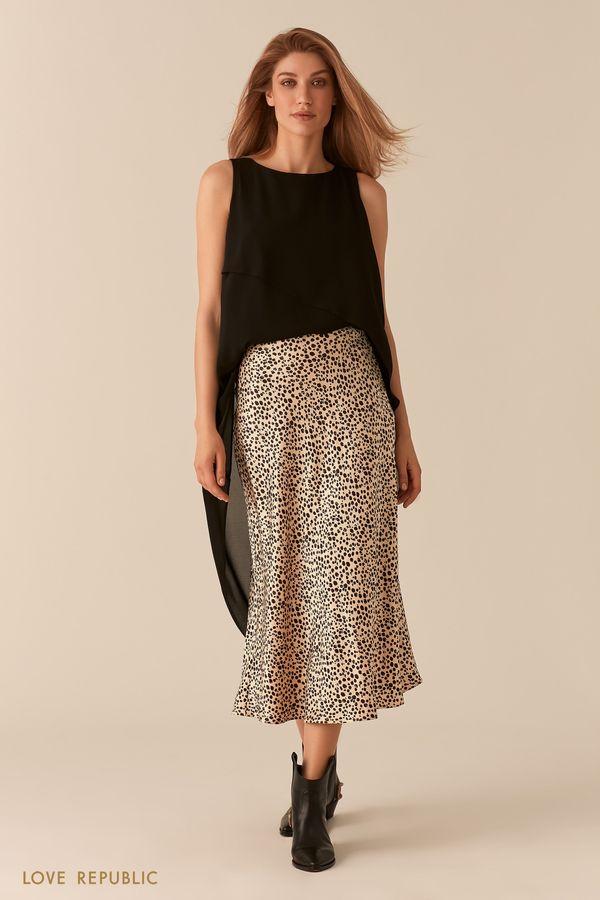 Черная шифоновая асимметричная блузка со шлейфом 02560550339-50