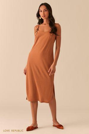Свободное трикотажное платье с разрезами фото