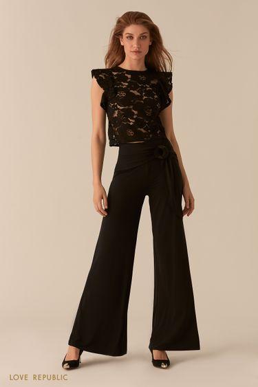 Черные брюки-палаццо с широким поясом 0256101701